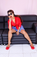 Charulatha Hot Photos in Red Shirt and Lungi dress