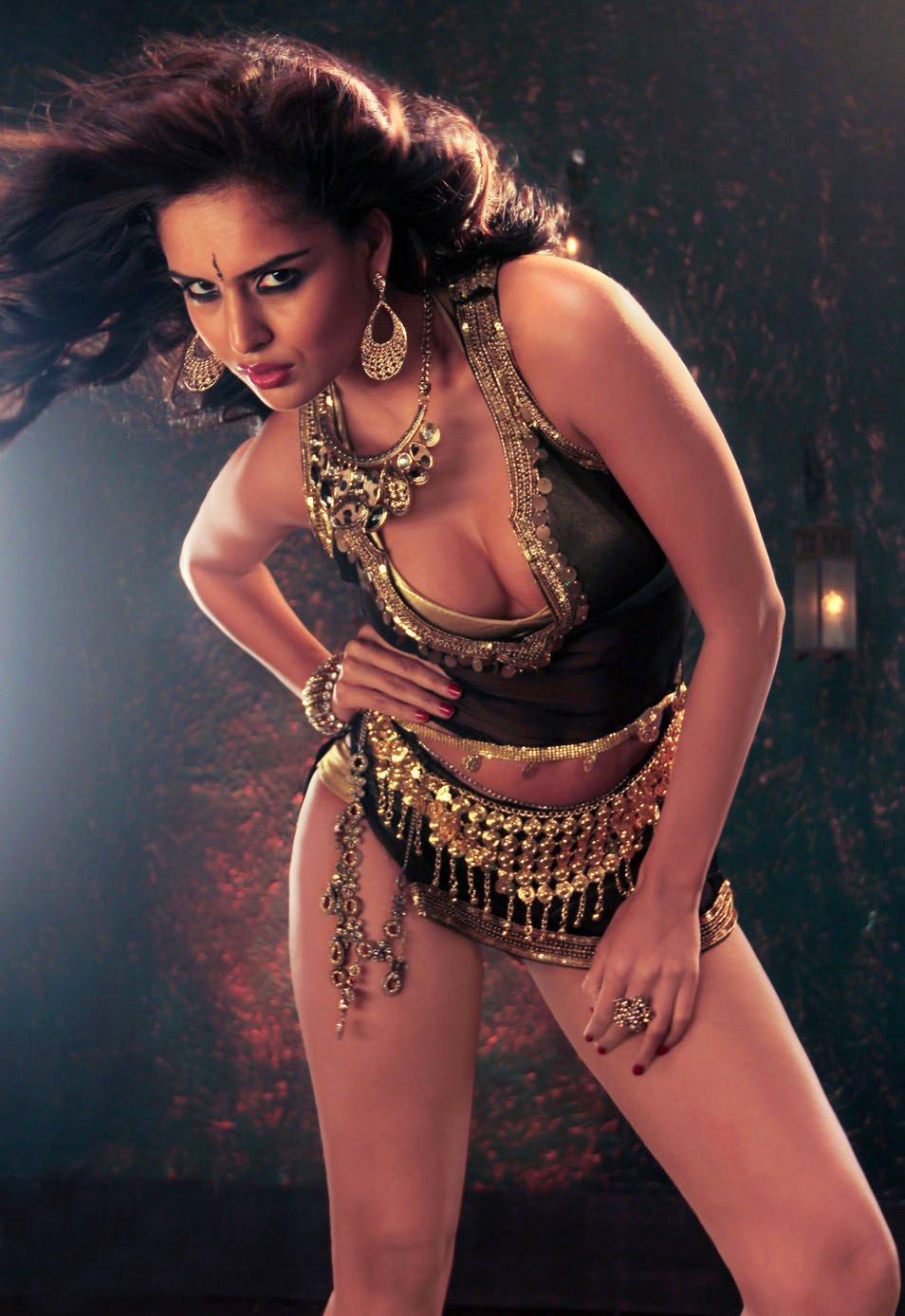 Nathalia Kaur Hot Photoshoot Gold And Black Dress Iniya Bold