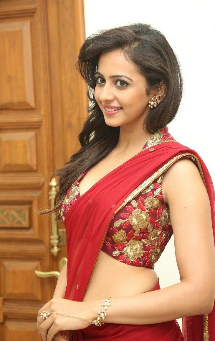 Rakul Preet Singh Hot In Red Saree Latest Photos Hd Stills