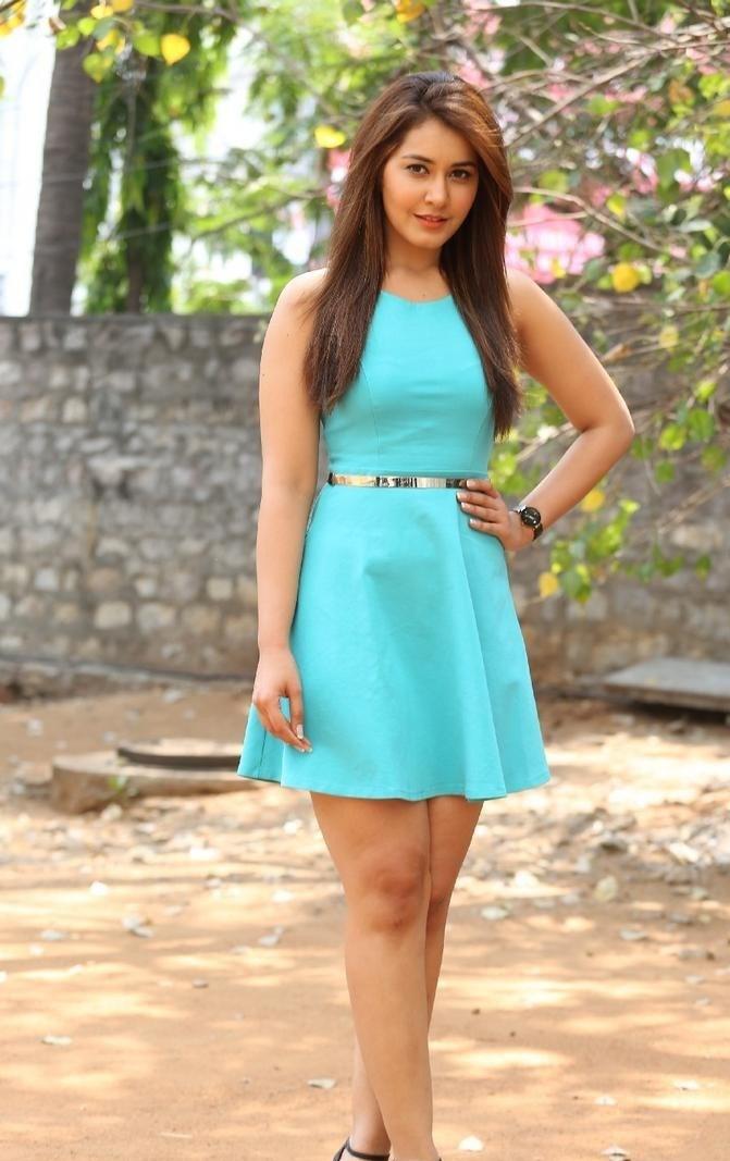Rashi Khanna Latest Photoshoot in Sky Blue Frock Dress HD