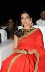 Samantha Red Saree Hot Stills at Son of Sathyamurthy Audio Launch Function