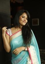 Anchor Anasuya Latest Pink Blue Saree HD Photos Stills Gallery Images