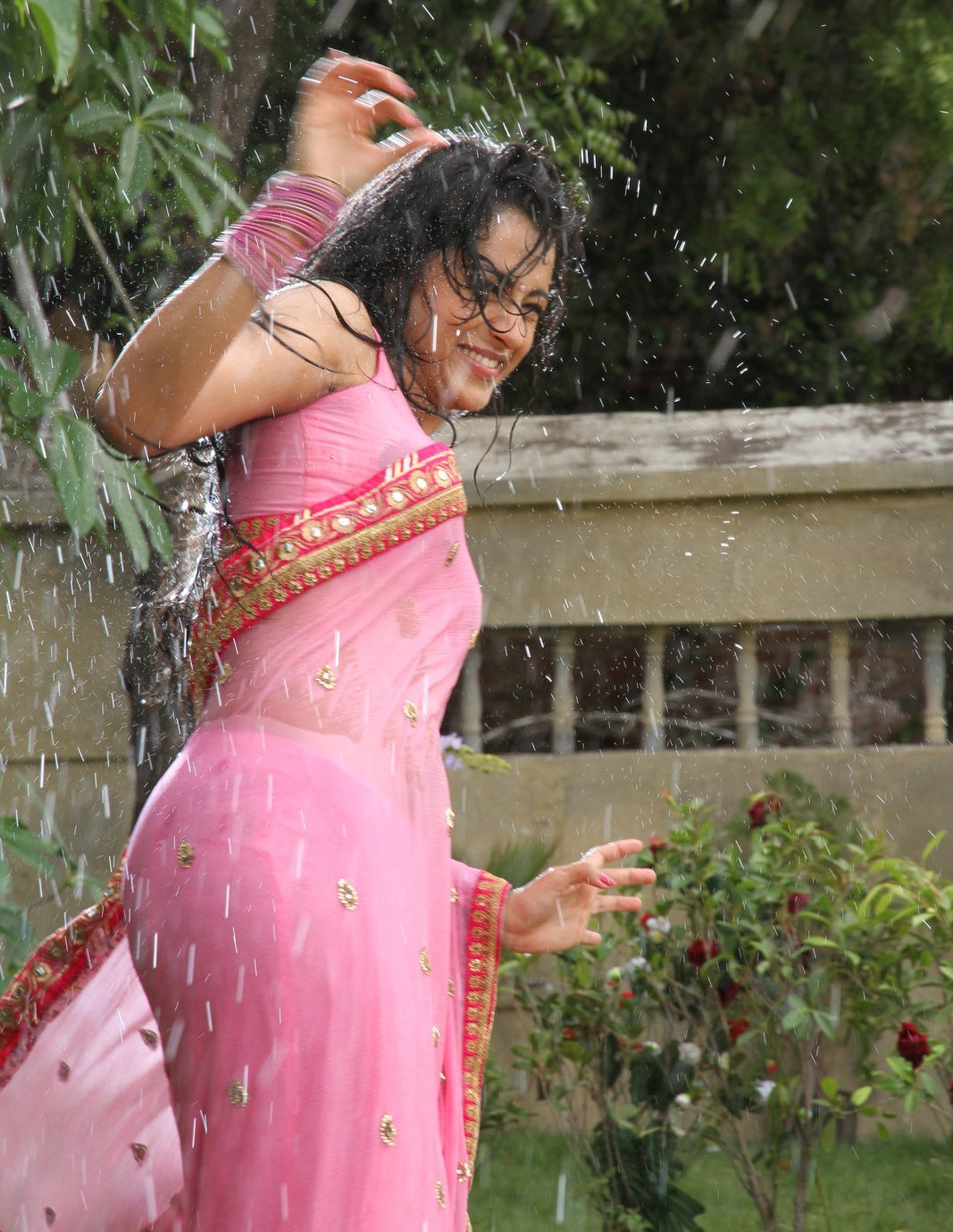 Actress Trisha Krishnan Wet Hot Ultra Hd Photos In Pink Saree Stills