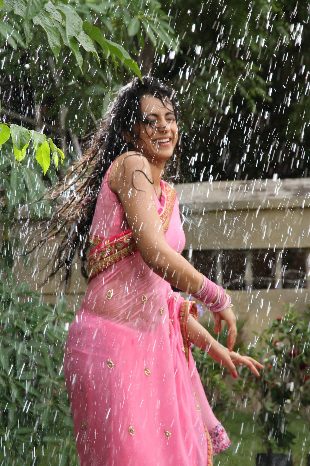 Actress Trisha Krishnan Wet Hot Ultra Hd Photos In Pink Saree Stills From Kalavathi -6582