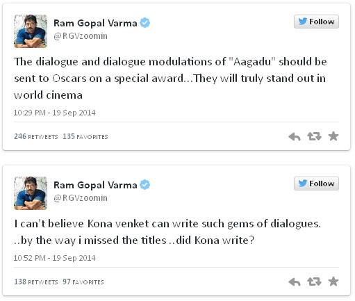 Ram Gopal Varma sensational comments on Aagadu and Kona Venkat tweets