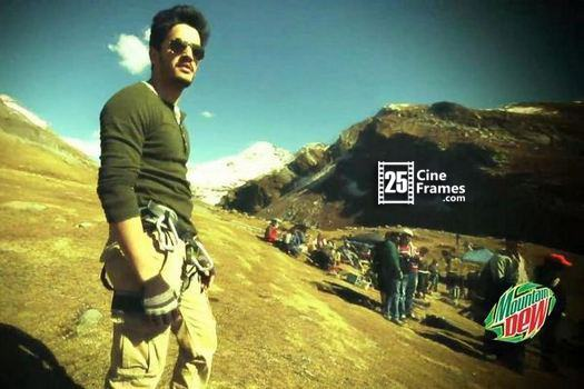 Akhil Akkineni seen with Arya for in a shooting process