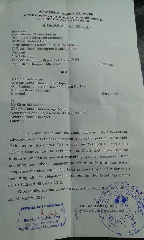 Criminal Case Filed on Actress Shruti Haasan Order