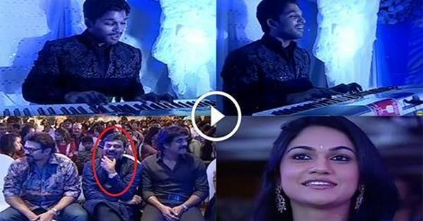 Allu Arjun Suprised to Sneha With His Song Chiranjeevi Shocked see the Reaction