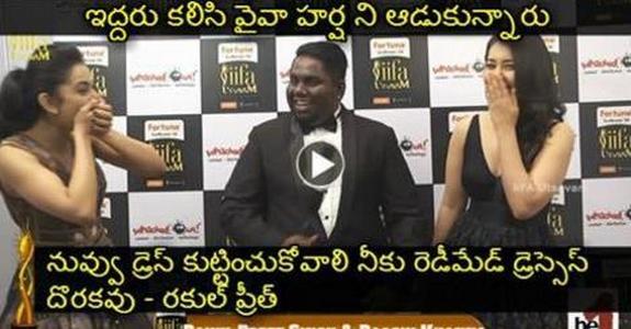 Rakul Preet and Rashi Khanna Hilarious Punches to Viva Harsha at IIFA Utsavam 2016