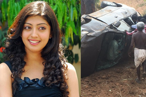 Pranitha's car overturns in Khammam, Escaped with injuries in Road Accident