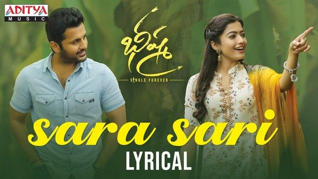 Sara Sari Full Video Song Hd 1080p Bheeshma Telugu Movie Bhishma Video Songs Nithiin Rashmika Mandanna Mahati Swara Sagar 25cineframes